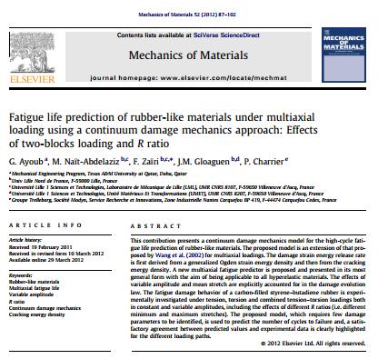 پیش بینی عمر خستگی مواد لاستیکی زیر بار چندجهته با استفاده از یک روش مکانیک آسیب محیط پیوسته: اثرات بارگ