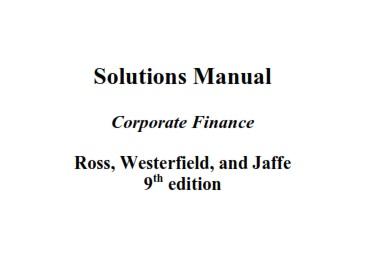 دانلود حل تمرین مدیریت مالی نوین استیون راس
