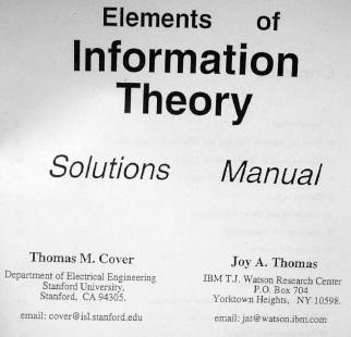 دانلود حل تمرین اصول تئوری اطلاعات توماس کاور