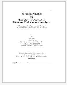 دانلود حل المسائل کتاب هنر تحلیل کارایی سیستم های کامپیوتری راج جین