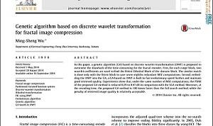 مقاله انگلیسی الگوریتم ژنتیک بر اساس تبدیل موجک گسسته برای فشرده سازی فرکتال