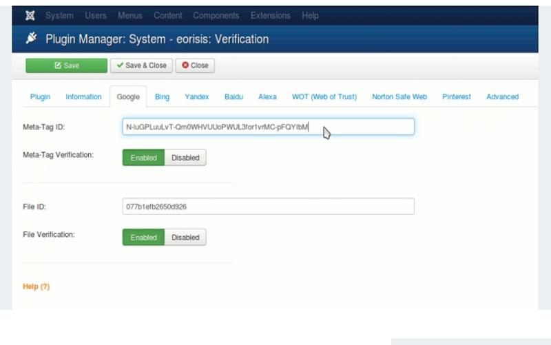 eorisis Verification V1.2.3 - پلاگین ثبت و تایید مالکیت سایت در گوگل و بینگ وبمستر