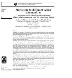 بازاریابی برای جوامع مختلف آسیایی (اهمیت فرهنگ جهت طرح پیامهای تبلیغاتی و جهت قصد خرید)