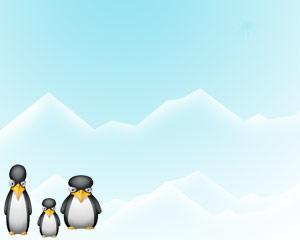 تمپلت کودکانه با طرح پنگوئن ها در برف