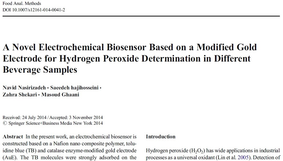 مقاله اسپرینگر 2014  به همراه ترجمه: یک بیوسنسور الکتروشیمیایی بر اساس یک الکترود طلای اصلاح شده برای تعیین پروکسید هیدروژن در نمونه های نوشیدنی های مختلف