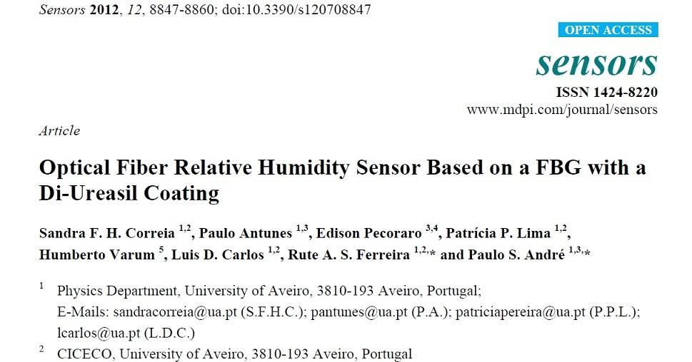 مقاله 2012 به همراه ترجمه عالی: سنسور فیبر نوری بر اساس یک اف بی جی با یک  روکش  Di-ureasil