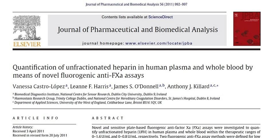مقاله الزویر 2011: تعیین کمیت های هپارین شکسته نشده در پلاسمای انسان و کل خون  با استفاده از روش سنجش جدید  fluorogenic ضد FXa