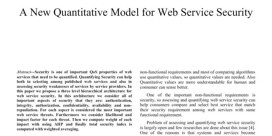 مقاله 2012: یک مدل جدید کمی برای امنیت سرویس وب