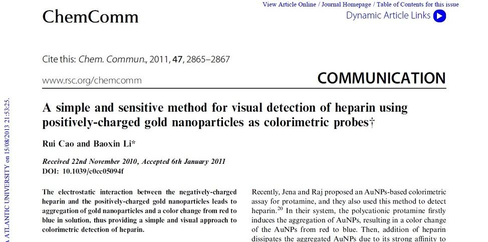 مقاله نانو ذرات طلا به همراه ترجمه تخصصی با بهترین کیفیت ترجمه با عنوان یک روش ساده با حساسیت بالا برای تشخیص بصری هپارین با استفاده از نانو ذرات طلا با بار مثبت به عنوان کاوشگر رنگ