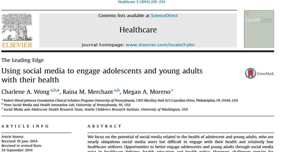 مقاله الزویر 2014 به همراه ترجمه:استفاده از رسانه های اجتماعی برای درگیرکردن نوجوانان و جوانان با سلامت خودشان