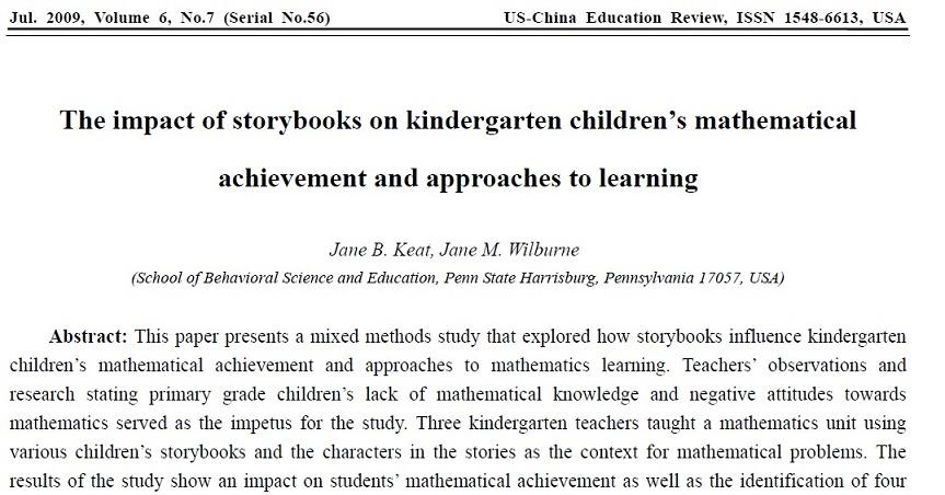 مقاله 2009 پنسیلوانیا به همراه ترجمه:تاثیر کتاب های داستان بر موفقیت کودکان مهدکودک در ریاضیات و روش های یادگیری