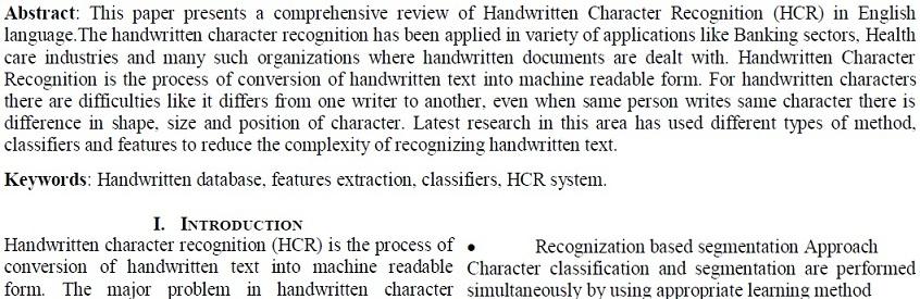 تشخیص کاراکتر دست نویس   (HCR) در زبان انگلیسی
