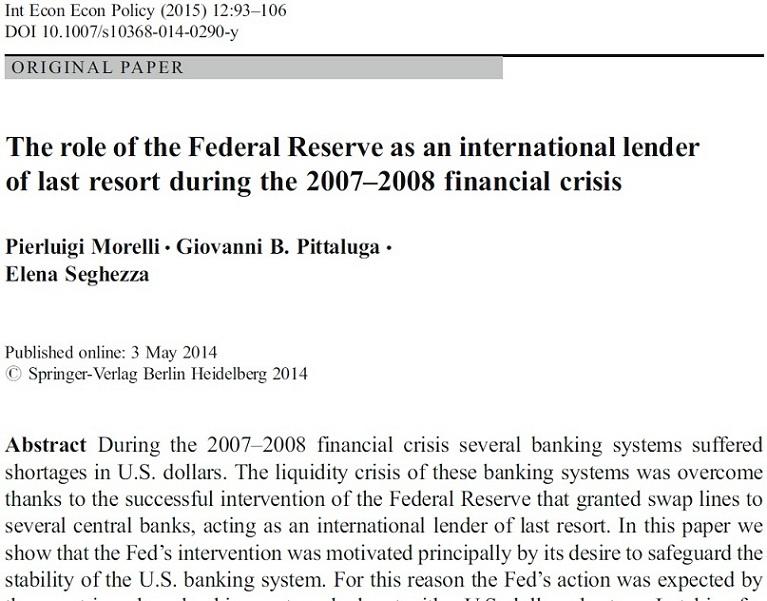 نقش بانک فدرال   به عنوان یک وام دهنده بین المللی در آخرین مرحله  در طول بحران مالی 2008 - 2007