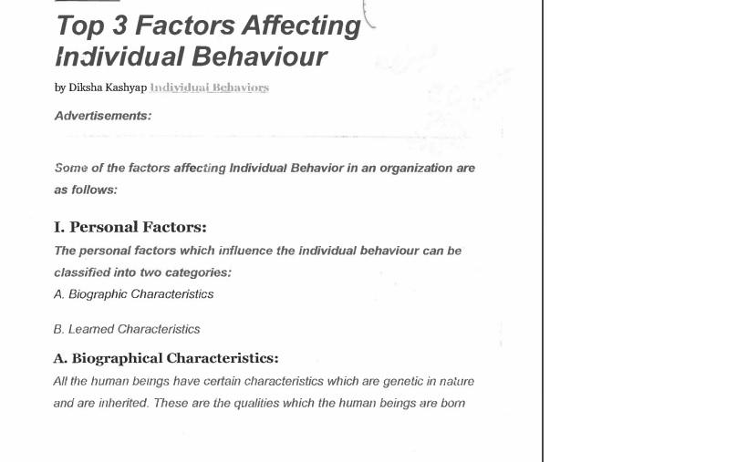 روانشناسی مدیریت انسانی، عوامل موثر بر رفتار فردی