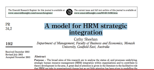 A model for HRM strategic integration