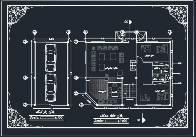 نقشه آماده ی اتوکد یک واحد مسکونی دو خوابه خوش نقشه 100 متری به همراه پارکینگ