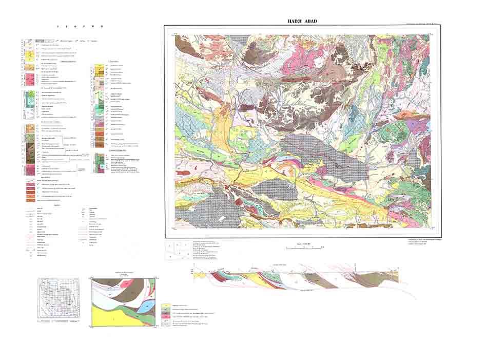 دانلود نقشه زمین شناسی و گزارش پشت نقشه زمین شناسی حاجی آباد (مقیاس 250000)