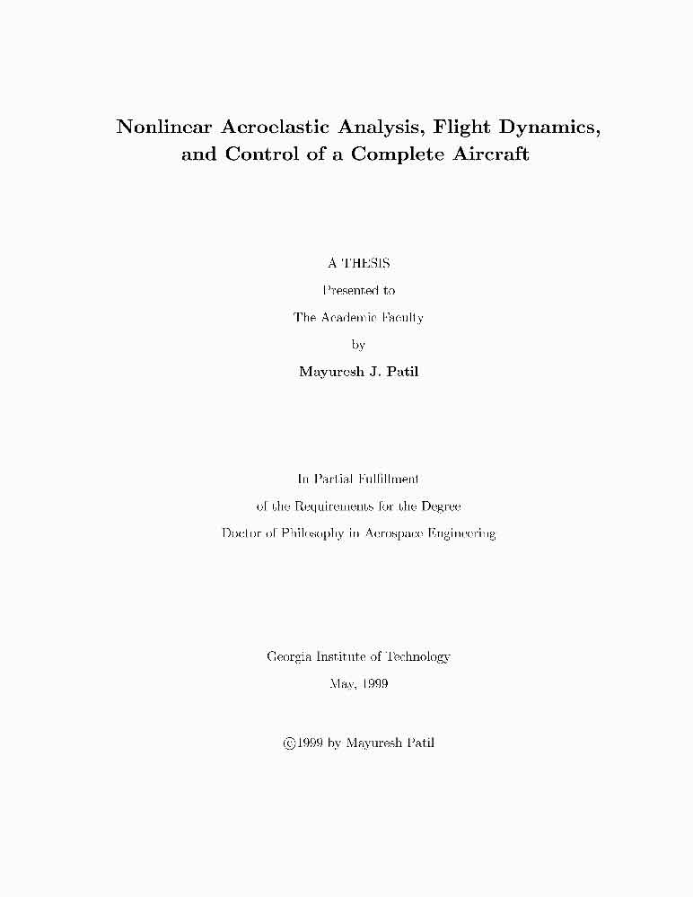 Nonlinear Aeroelastic Analysis