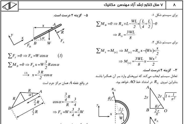 7سال کنکور ارشد آزاد مهندسی مکانیک با پاسخ کاملا تشریحی