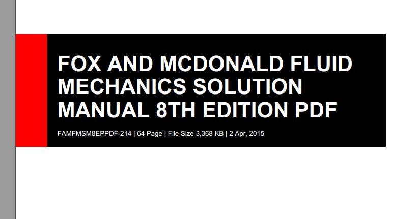 حل تشریحی و کامل مکانیک سیالات فاکس ویرایش هشتfox & mcdonald.