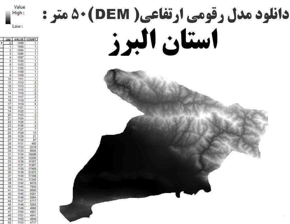 دانلود  شیپ فایل GIS مدل رقومی ارتقاعی(DEM) با دقت 50 متر استان البرز