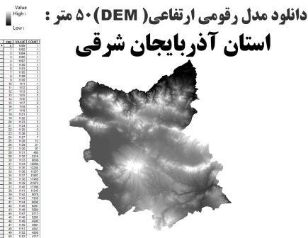 دانلود شیپ فایلGIS مدل رقومی ارتقاعی(DEM) با دقت 50 متر استان آذربایجان شرقی