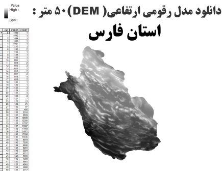 دانلود شیپ فایل GIS مدل رقومی ارتقاعی(DEM) با دقت 50 متر استان فارس