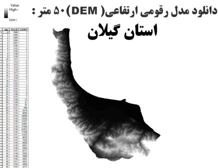دانلود شیپ فایلGIS مدل رقومی ارتقاعی(DEM) با دقت 50 متر استان گیلان