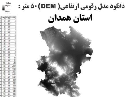 دانلود شیپ فایل GIS مدل رقومی ارتقاعی(DEM) با دقت 50 متر استان همدان