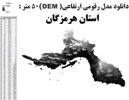دانلود شیپ فایل GIS مدل رقومی ارتقاعی(DEM) با دقت 50 متر استان هرمزگان