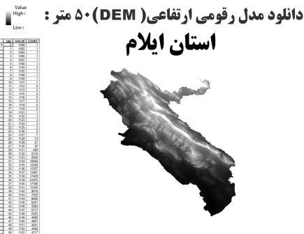 دانلود شیپ فایل GIS مدل رقومی ارتقاعی(DEM) با دقت 50 متر استان ایلام
