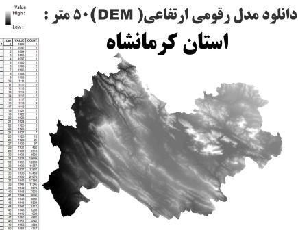 دانلود شیپ فایل GIS مدل رقومی ارتقاعی(DEM) با دقت 50 متر استان کرمانشاه