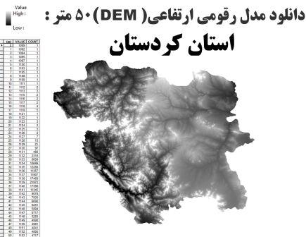 دانلود شیپ فایل GIS مدل رقومی ارتقاعی(DEM) با دقت 50 متر استان کردستان