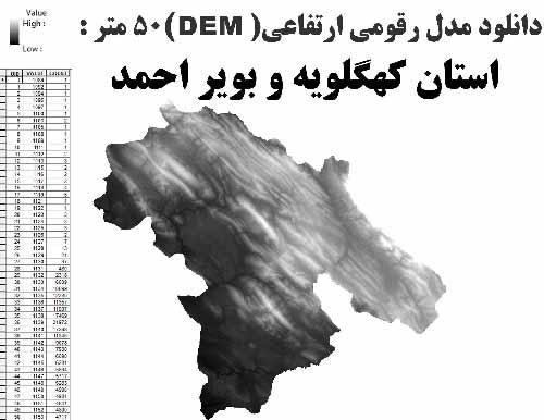 دانلود شیپ فایل GIS مدل رقومی ارتقاعی(DEM) با دقت 50 متر استان کهگلویه و بویر احمد