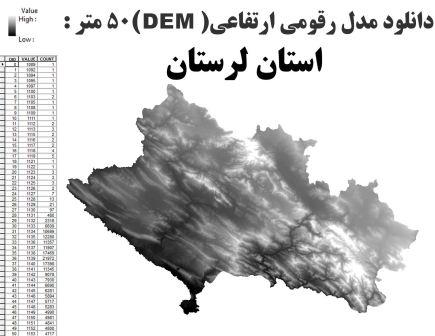 دانلود شیپ فایل GIS مدل رقومی ارتقاعی(DEM) با دقت 50 متر استان لرستان