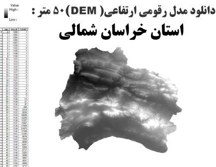 دانلود شیپ فایل GIS مدل رقومی ارتقاعی(DEM) با دقت 50 متر استان خراسان شمالی