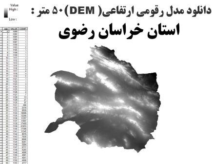 دانلود شیپ فایل GIS مدل رقومی ارتقاعی(DEM) با دقت 50 متر استان خراسان رضوی