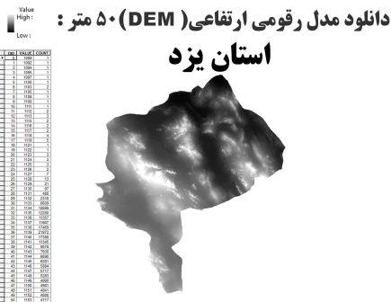 دانلود شیپ فایل GIS مدل رقومی ارتقاعی(DEM) با دقت 50 متر استان یزد