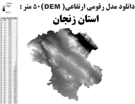 دانلود شیپ فایل GIS مدل رقومی ارتقاعی(DEM) با دقت 50 متر استان زنجان