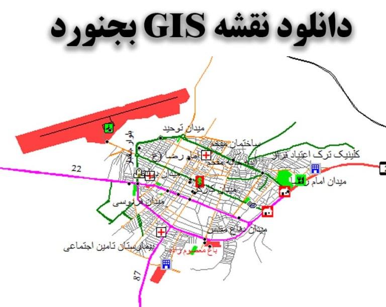دانلود نقشه GIS شهر بجنورد