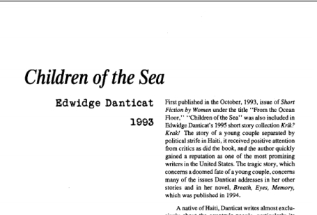نقد داستان کوتاه Children of the Sea by Edwidge Danticat