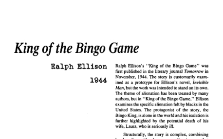 نقد داستان کوتاه The King of the Bingo Game by Ralph Ellison