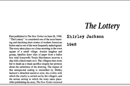 نقد داستان کوتاه The Lottery by Shirley Jackson