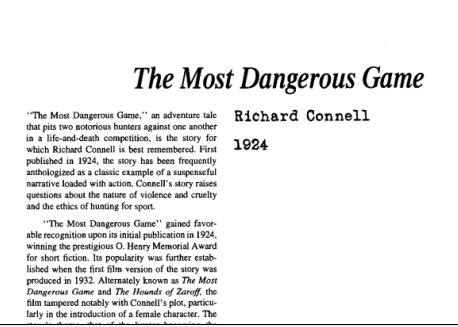 نقد داستان کوتاه The Most Dangerous Game by Richard Connell
