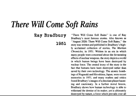 نقد داستان کوتاه There Will Come Soft Rains by Ray...Bradbury