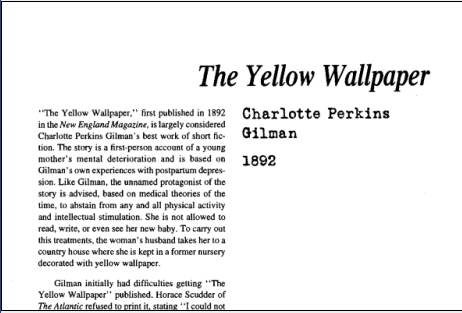 نقد داستان کوتاه The Yellow Wallpaper by Charlotte Perkins Gilman
