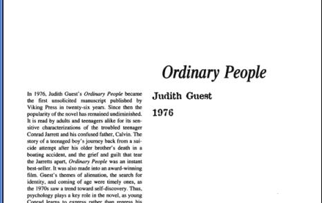 نقد رمان Ordinary People by Judith Guest