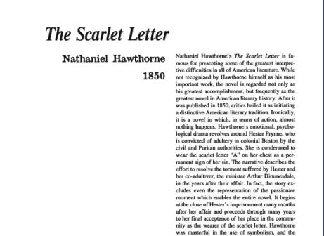 نقد رمان The Scarlet Letter by Nathaniel Hawthorne