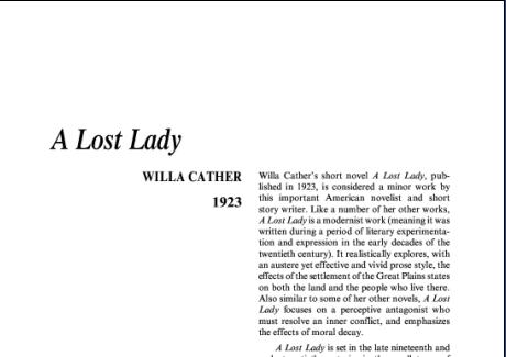 نقد رمان بانوی گمشده اثر ویلا سایبرت کاتر A Lost Lady by Willa Sibert Cather
