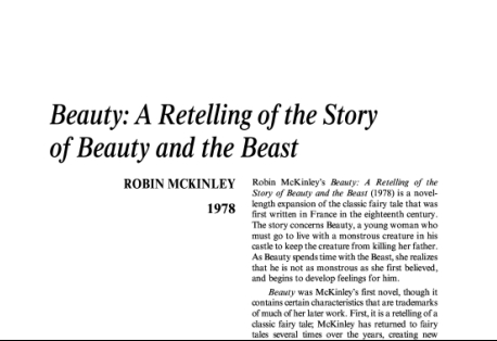 نقد رمان Beauty: A Retelling of the Story of Beauty and the Beast by Robin McKinley
